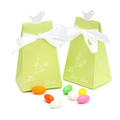 Bird Pyramid Favor Boxes With Ribbons