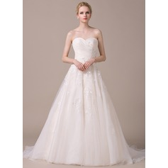 A-Line/Princess Sweetheart Court Train Organza Wedding Dress With Ruffle Beading Appliques Lace Sequins Bow(s)