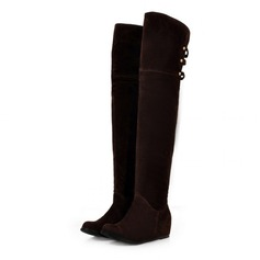 Women's Suede Wedge Heel Knee High Boots With Braided Strap shoes