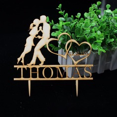 """""""Double Hearts"""" Wood Cake Topper"""