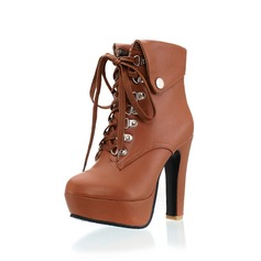 Women's Leatherette Chunky Heel Mid-Calf Boots With Ruched Braided Strap shoes
