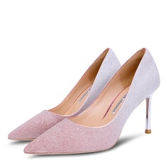 Women's Microfiber Leather Stiletto Heel Closed Toe Pumps With Sparkling Glitter