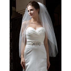 Five-tier Fingertip Bridal Veils With Cut Edge