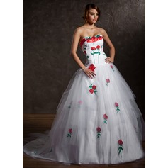 Ball-Gown Sweetheart Chapel Train Tulle Quinceanera Dress With Appliques Lace Cascading Ruffles