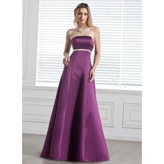 Empire Strapless Floor-Length Satin Bridesmaid Dress With Sash Bow(s)