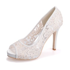 Women's Lace Stiletto Heel Peep Toe Platform Sandals (047066876)