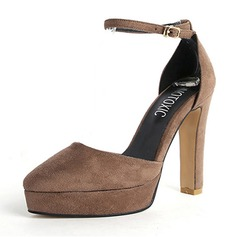 Women's Suede Chunky Heel Pumps Platform Closed Toe With Buckle shoes