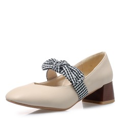 Women's Leatherette Low Heel Closed Toe With Bowknot shoes