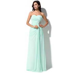 Sheath/Column Sweetheart Floor-Length Chiffon Prom Dress With Ruffle Beading Appliques Lace Sequins Split Front
