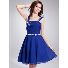 A-Line/Princess Square Neckline Knee-Length Chiffon Homecoming Dress With Ruffle Beading