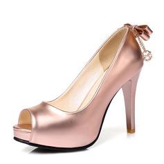 女性用 PU スチレットヒール パンプス プラットフォーム とともに ちょう結び 靴