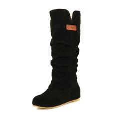 Vrouwen Suede Flat Heel Flats Closed Toe Laarzen Half-Kuit Laarzen met Roes schoenen