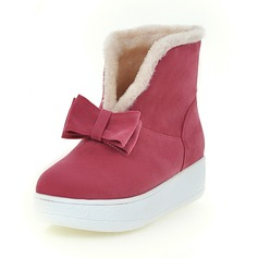 Women's Suede Flat Heel Boots Ankle Boots With Bowknot shoes