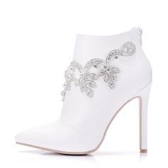 Women's Leatherette Stiletto Heel Boots Pumps With Rhinestone