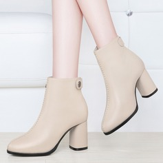 Women's Leatherette Low Heel Boots Closed Toe Pumps With Button