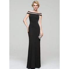 Sheath/Column Off-the-Shoulder Floor-Length Jersey Evening Dress