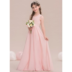 A-Line/Princess V-neck Floor-Length Chiffon Junior Bridesmaid Dress With Ruffle (009119579)