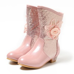 Girl's Closed Toe Mid-Calf Boots Leatherette Low Heel Boots Flower Girl Shoes With Flower