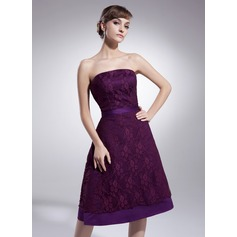 A-Line/Princess Sweetheart Knee-Length Lace Cocktail Dress