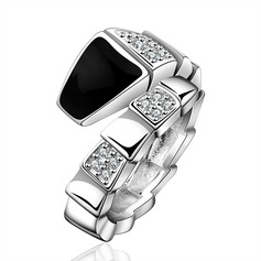 Unique Silver Plated Zircon Brass Ladies' Fashion Rings