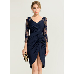 Sheath/Column V-neck Asymmetrical Jersey Cocktail Dress With Ruffle