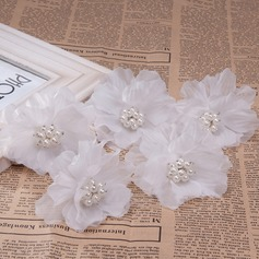 Ladies Pretty Imitation Pearls/Silk Flower Hairpins (Set of 5)