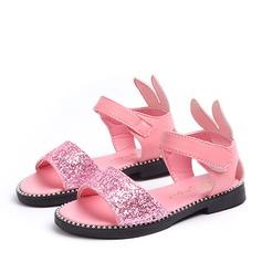 A menina de Peep toe Glitter espumante Heel plana Sandálias Sapatas do florista com Espumante Glitter Velcro