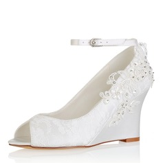 Women's Silk Like Satin Wedge Heel Peep Toe Pumps Sandals With Stitching Lace