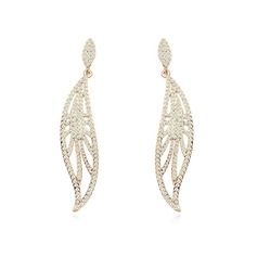 Shining Gold Plated With Crystal Ladies' Earrings