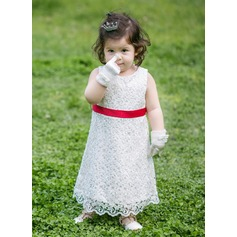 Tea-length Flower Girl Dress - Satin Sleeveless Scoop Neck With Lace
