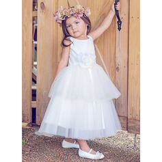 Ball Gown Ankle-length Flower Girl Dress - Tulle/Cotton Sleeveless Scoop Neck With Flower(s)
