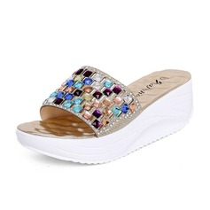 Leatherette Wedge Heel Sandals Slippers With Rhinestone shoes