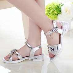 Girl's Leatherette Flat Heel Peep Toe Sandals With Bowknot Sparkling Glitter Animal Print