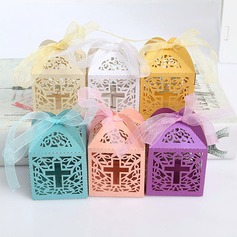 Creative/Classic/Lovely Cubic Card Paper Favor Boxes With Ribbons