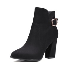 Women's Suede Chunky Heel Pumps Closed Toe Boots Ankle Boots With Buckle shoes