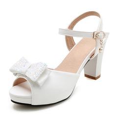 Donna Similpelle Tacco spesso Sandalo Piattaforma Punta aperta con Bowknot scarpe