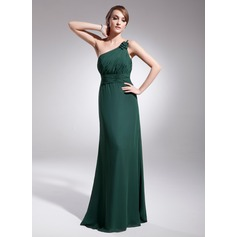 A-Line/Princess One-Shoulder Floor-Length Chiffon Evening Dress With Ruffle