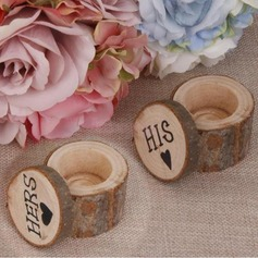 """HIS & HERS""/Shabby Rustic Ring Box in Wood (Set of 2 pairs)"