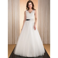 Ball-Gown V-neck Floor-Length Tulle Wedding Dress With Ruffle Sash Flower(s)
