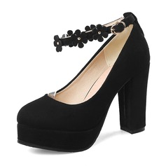 Women's Suede Chunky Heel Pumps Platform With Buckle Flower shoes