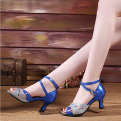 Women's Leatherette Sparkling Glitter Heels Latin With Buckle Dance Shoes