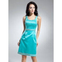 Sheath/Column Scoop Neck Knee-Length Satin Cocktail Dress With Beading