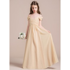 A-Line/Princess Off-the-Shoulder Floor-Length Chiffon Junior Bridesmaid Dress With Ruffle