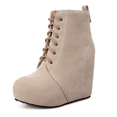 Women's Suede Wedge Heel Pumps Closed Toe Wedges Boots Ankle Boots shoes