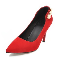 Women's Suede Stiletto Heel Pumps With Pearl shoes
