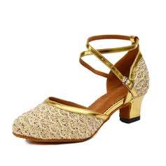 Women's Real Leather Sparkling Glitter Heels Modern With Buckle Dance Shoes