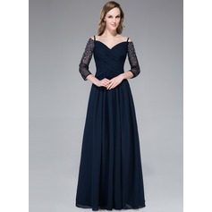 A-Line/Princess Off-the-Shoulder Floor-Length Chiffon Evening Dress With Ruffle Beading Split Front