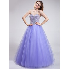 Ball-Gown Sweetheart Floor-Length Tulle Prom Dress With Beading Sequins
