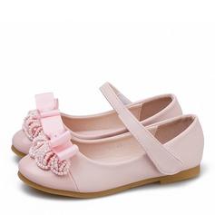 Muchacha Encaje Punta Cerrada Kunstleder Lackleder Talón plano Planos Zapatos de niña de las flores con Bowknot Velcro