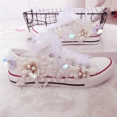 Women's Canvas Flat Heel Closed Toe Flats With Flower Crystal Pearl